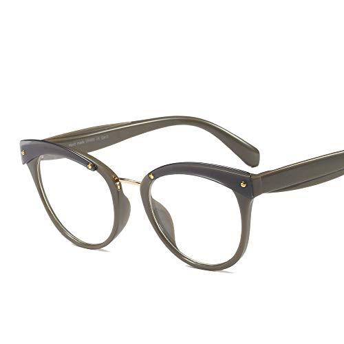 Chenyuan Brillenfassungen für Frauen Fashion Round Glasses Clear Lens Eyeglasses Frame (Farbe : Grey Green)