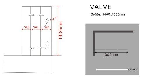 Duschabtrennung dreiteilig 130×140 cm - 4