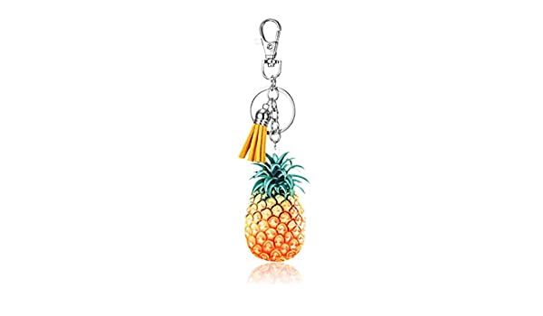 ICUTEDIY Mignon Acrylique Dessin Anim/é Fruits Gland Pendentif Porte-Cl/és Voiture Sac Ornement Porte-Cl/és pour Les Femmes Ananas