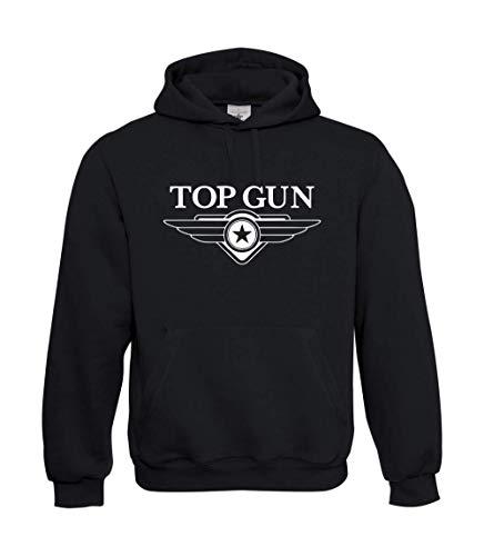 TEXTIL MONSTER Kapuzenpullover - Top Gun Logo (L, Schwarz)