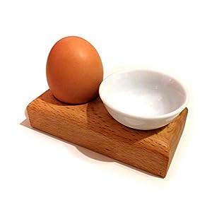 Eierbecher mit Schälchen für Eierschale aus Buche