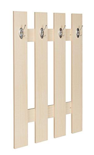 ts-ideen Garderobe Wandgarderobe Flur Diele Paneel Hakenleiste Holz Ahorn Hell 4 Haken 100 x 70 cm