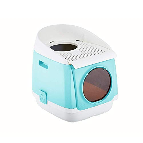 HYLH  Free Cabin Litter Boxes Fully Enclosed Cat Litter Tray Splash Prevention Double Door Foldable Deodorization Hooded Cat Pan (Color : Blue)