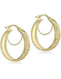 Carissima Gold Women's 9 ct Yellow Gold Diamond Cut Double Hoop Creole Earrings
