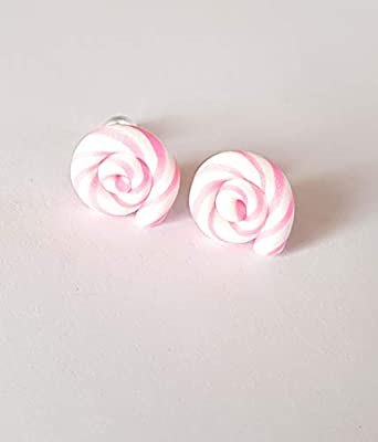 puces lolipop multicolore rose coloré fimo bonbon cadeau boucles d oreille enfant