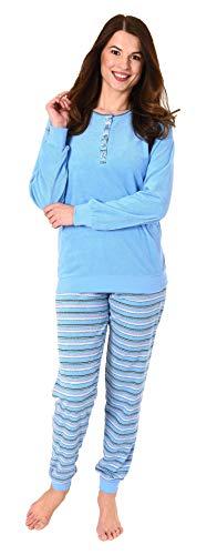 e1c502fdd4 NORMANN WÄSCHEFABRIK Damen Frottee Pyjama Schlafanzug mit Knopfleiste am  Hals - auch in Übergrössen 281 201 93 110, Farbe:hellblau, Größe2:44/46