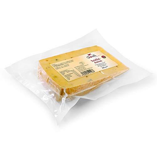 Die Trüffelmanufaktur - Feinkost Trüffelkäse Anton, Schnittkäse mit 3{b864e77e6f137cfffef0f318451e864b3cca85053eadf36a3cf24e05e44198d7} echtem schwarzem Trüffel, mild nussiger Allgäuer Heumilchkäse für Feinschmecker und Gourmets, Käse-Packung á 200 g