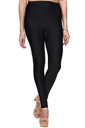 Trasa Shining Lycra Women's / Girls Full Length Churidar Black Leggings - (Brand Outlet) - Medium