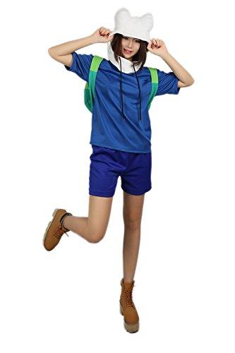 Halloween Kostüm Cosplay Outfit Top T-shirt mit Hose Hut für Erwachsene Verrücktes Kleid Kleidung Merchandise (Adventure Time Finn Kostüme Erwachsene)