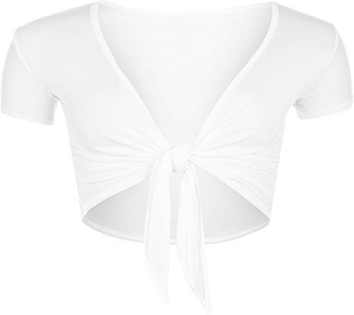 WearAll - Cardigan court ouvert à manches courtes avec un noeud - Cardigans - Femmes - Tailles 36 à 42