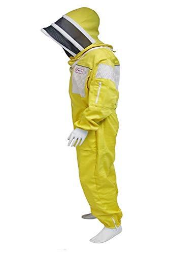 Fmart UK Bienenenzaun Schutzkleidung 3-lagig, belüftet, 260 g/m² Polyester-Baumwolle, Größe M, gepolsterte Knie, Gelb -