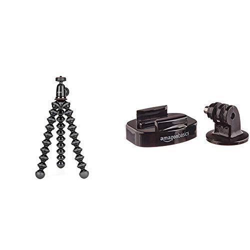 Joby GorillaPod 1K Kit, schwarz & AmazonBasics Stativschellen-Set für GoPro Actionkamera, für Dreibeinstative