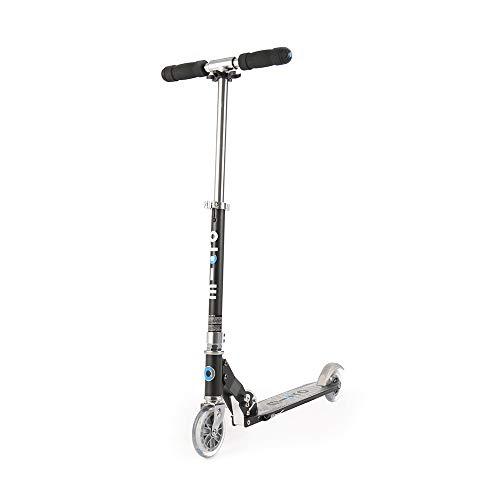 Micro Mobility - Trottinette Sprite Noire - Trottinette Enfant compacte et Pliable - Apprentissage de l'équilibre - À partir de 6 Ans
