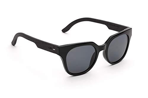 TAKE A SHOT - Cateye Stil, Holz-Sonnenbrille Damen, Holz-Bügel, Kunststoff-Rahmen, UV400 Schutz, rückentspiegelte Gläser, Audrey