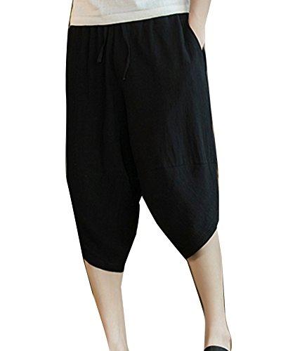 LaoZanA Pantalones Cortos De Lino Hombre Anchos Baggy Casual Cintura Elástica Delgado Bermudas Shorts Armada 5XL 6zxudS4TRz