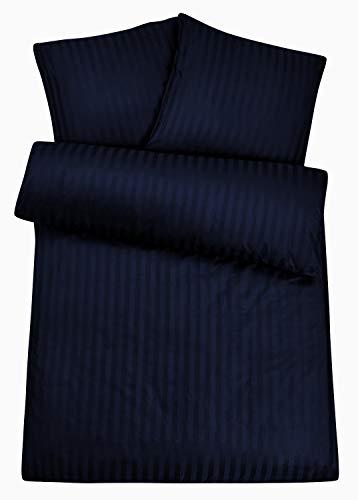 Luxuriöse Damast-Bettwäsche in exklusiver Hotelqualität 135 x 200 cm Nacht Blau 100 % Baumwolle für besten Schlafkomfort - Hotel-Bettwäsche Set mit Kopfkissen-Bezug und edlen Damast-Streifen