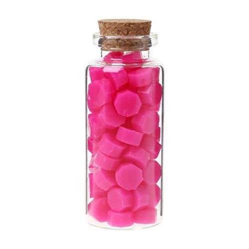 Fafalloagrron 65-teiliges Siegelwachs achteckige Perlen für Retro-Siegelstempel, mehrfarbig, Hochzeits-Umschlag, Einladungskarte, DIY Dekoration 2.83x1.10in hot pink