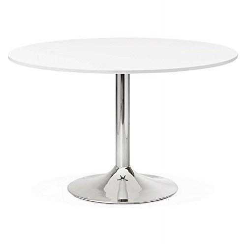 M.K.F. Table de Bureau ou Repas Design Ronde ASTA en Bois et métal chromé (Ø 120 cm) (Blanc)