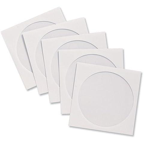 Compucessory - Custodie per CD in carta, con finestra, 126 x 126 mm, 100 pezzi, colore: Bianco - Carta Con Finestra Cd Manica
