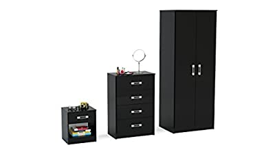Reflect High Gloss 3 Piece Bedroom Furniture Set | Wardrobe, Chest, Bedside Cabinet | 4 Colours - low-cost UK light shop.