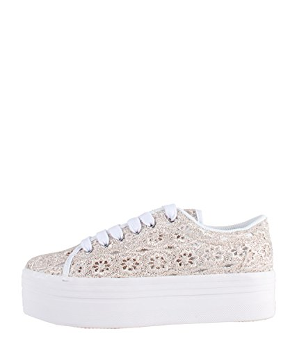 Jeffrey Campbell Zomg Lace Grey White - Scarpe Grigie In Pizzo Grigio