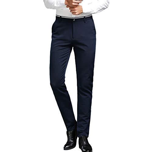 Honestyi Herren Solid Casuall Slim Reißverschluss Business Hosen Lange Hosen 666 Herren einfarbige Hose mit geradem Reißverschluss