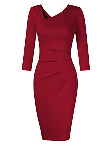 KoJooin Damen Elegant Etuikleider Knielang Langarm Business Kleider 1950s Retro Vintage Figurbetonte Kleider Weinrot S