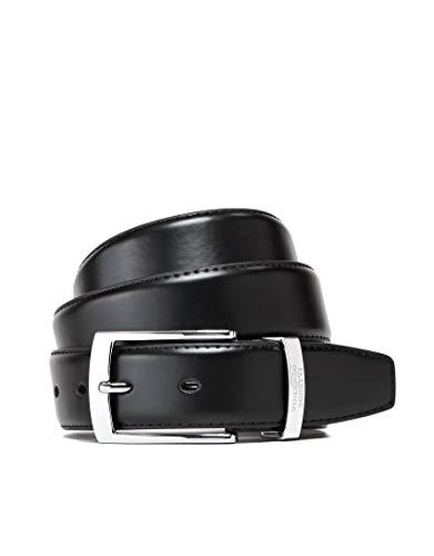 Vincenzo Boretti Herren-Gürtel mit silberfarbener Dornschließe, matt-glänzendes Leder, Metalllogo, 35 mm Breite schwarz 85 cm