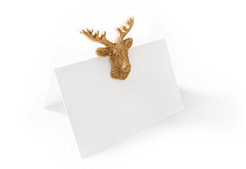 10 Stück edle hochwertige Tischkarten gold-farbene HIRSCH-GEWEIH Streuteile Zierstreu Tischstreu (m. Klebepunkt) - kleine Namens-Schilder Sitzkarten Platzkarten Namens-Kärtchen für JEDEN Stift!