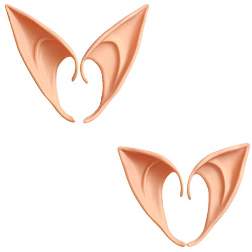 BOEHNER 2 Paar Rollenspiel-Masken weiche Fee Elfen Ohrringe Halloween Party Spitze Prothese Ohren Halloween Party Elfenohren (Farbe) (Dunkel) (Dunklen Paar Kostüm)