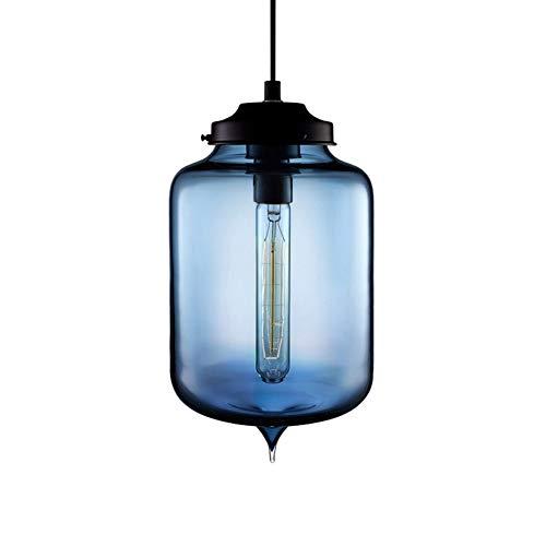 Lightsjoy Vintage Pendelleuchte Glas Hängelampe Blau Glasschirm Modern Hängeleuchte Pendellampe E27 Industrie Lampe Anhänger Innenleuchte Küche Glaslampe kugel glaslampenschirm Deckenleuchte Esszimmer -