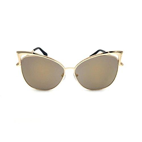 Occhiali da sole da donna uomo polarizzati -beautyjourney occhiali da sole love heart donna rotondi vintage sunglasses cat eye- lente trasparente occhiali metallo spettacolo telaio miopia occhiali (gd)
