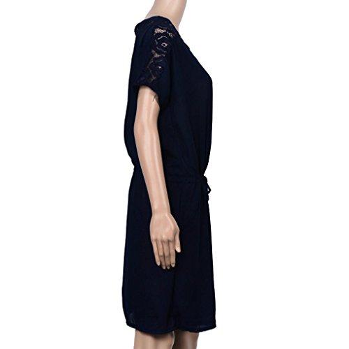 Amlaiworld Robes de dentelle été Plus Taille Robe Loose décontractée Bleu