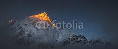 "Alu-Dibond-Bild 100 x 40 cm: ""Himalya summits Everest and Nuptse at sunset"", Bild auf Alu-Dibond"