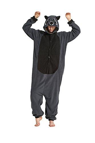 Fandecie costume animale costume animale pigiama pigiama tuta kigurumi unicorno donna uomo cosplay adulto per carnevale animale halloween (grigio procione lavatore, xl - per altezza 180-190 cm)