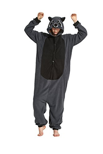 Fandecie Tier Kostüm Tierkostüm Tier Schlafanzug Pyjamas Jumpsuit Kigurumi Damen Herren Erwachsene Cosplay Tier Fasching Karneval Halloween (Grau Waschbär, XL:Höhe 180-189cm)