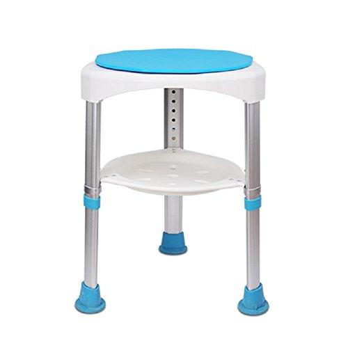 HHORD Drehbarer Duschhocker/Bad-Stuhl/Rutschfester Medizinischer Duschstuhl Des Aluminiums Für Behinderte,1 (Deluxe-aluminium-bad-bank)