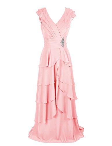 Dresstells, Robe de soirée de mariage Robe de cérémonie mousseline forme princesse col en V avec emperler Robe à volants Rose