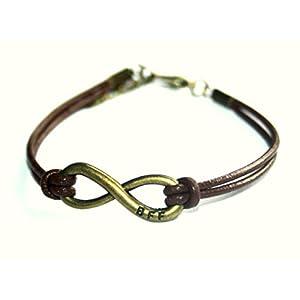 SPECIAL PRICE - Infinity BFF - Best Friends Forever - Freundschafts Lederarmband braun/bronze, 16-17cm, handmade