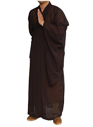 Zooboo Mönch Buddhistische Kostüm Bademäntel–Traditionelle Chinesische Taoismus Buddha Shaolin Thai lange Ärmel Martial Art stand-collar Wushu Kung Fu Kulturelle Hose Kleid passt Shirt Uniformen Set Unisex, braun