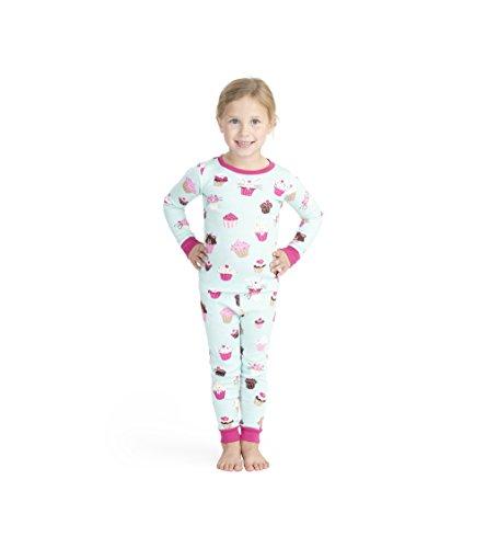 Hatley Mädchen Organic Cotton Long Sleeve Printed Pyjama Sets Zweiteiliger Schlafanzug, ((Cute Cupcakes), ((Herstellergröße: 2)