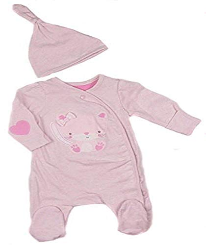 Baby Mädchen Rosa Katze Schlafanzug Strampelanzug und Wiege Mütze Set Zweiteiliges Set - Rosa, 80-86 (Katze Kinder Strampelanzug)
