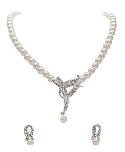 Unbekannt Set Collier Halskette Perlen Strass Brautschmuck Perlenkette Braut SCHMUCK - Halskette Perlen Braut