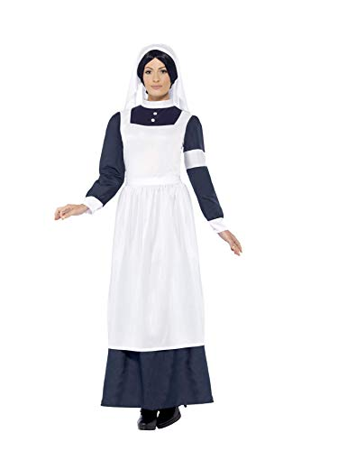Weltkrieg Für Kostüm 2 Erwachsene - Smiffy's 43430 - Great War Krankenschwester Kostüm mit Dress und Kopfstück, Weiß/Blau, Gr. L