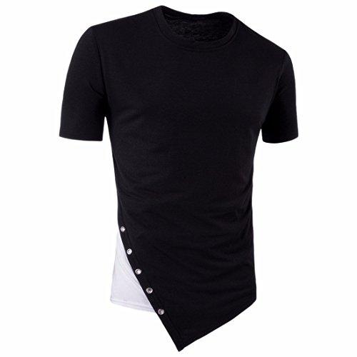 QIYUN.Z Männer Beiläufige Patchwork Kurzschlußhülse Nehmen Passende T-Shirts Ab Schwarz