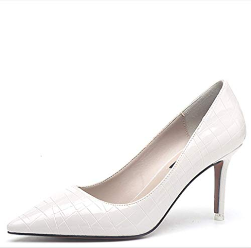 LIANGXIE Ladies Women es Slip On Pointed Toe Sexy Pumps Closed Toe Stiletto Heel Super Size Code Work Nightclub Sexy Patent Leder Heels,White,38 Patent Dolly