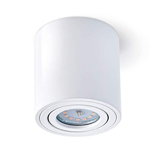 Aufbaustrahler Aufbauleuchte PALERMO Aufputz Deckenlampe Deckenleuchte Strahler Downlight ohne Leuchtmittel (RUND WEIß)