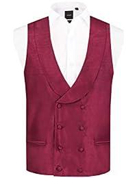 6b6684f807f0 Dobell Mens Burgundy Waistcoat Regular Fit Double Breasted Shawl Lapel  Dupion