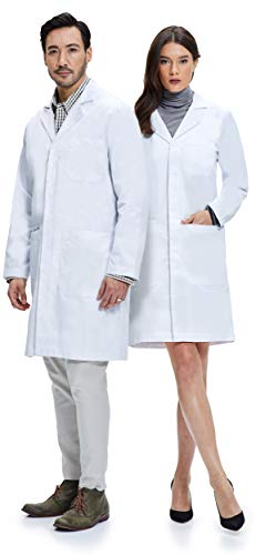 Dr. James Weißer Unisex Laborkittel 100% Baumwolle Hohe Qualität DE-03-L