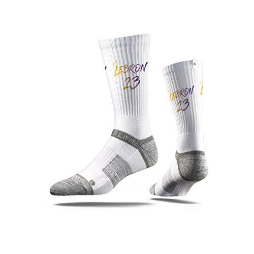 Strideline NBA Premium Athletic Crew Socks, Einheitsgröße, unisex - erwachsene, Lebron James, Black Action Premium Athletic Crew Socks, LeBron James White Jersey, Einheitsgröße (Jersey Lebron White James)